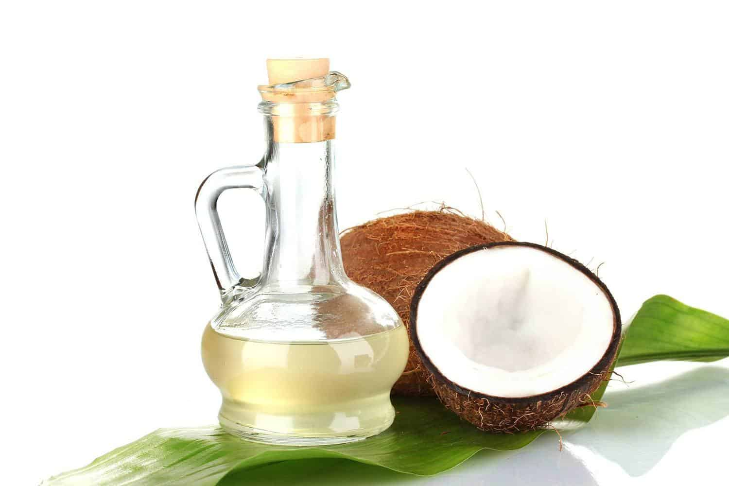 Coconut shells with coconut oil.