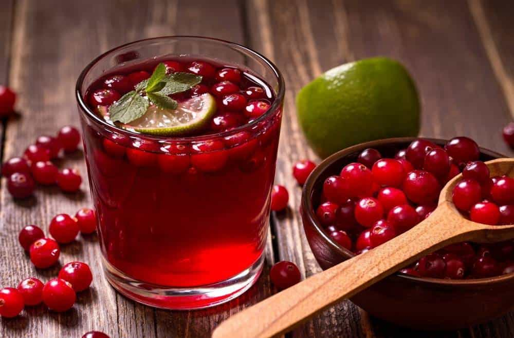 A glass of cranberry juice with a bowl of cranberries.