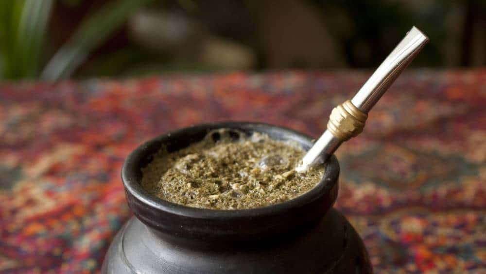 Yerba Mate tea in a designated cup.