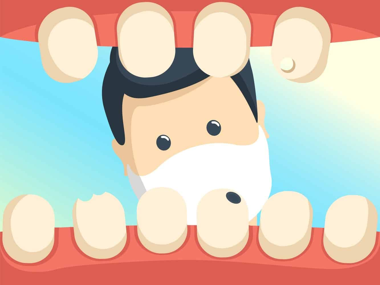 GRaphic of a dentist inspecting oral health.