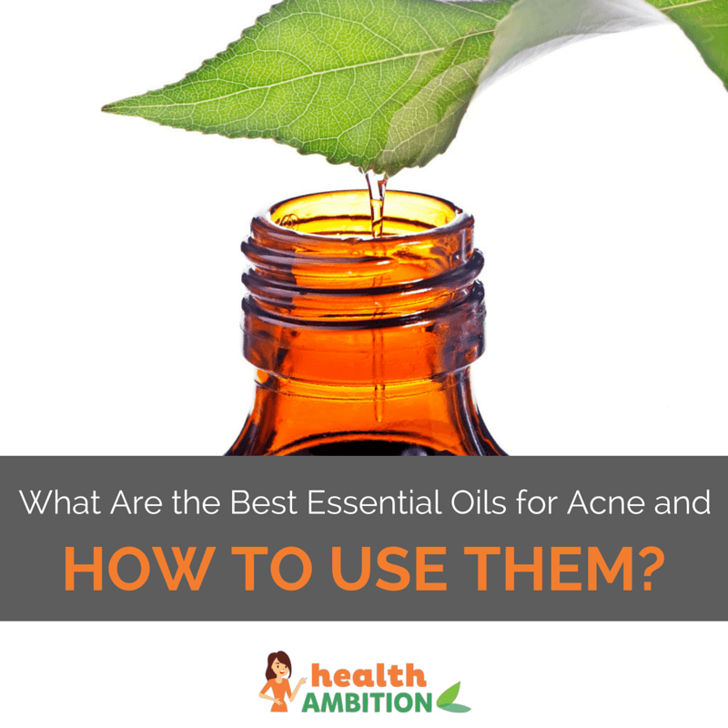 "Oil being extracted from a leaf into a bottle with the title ""What Are the Best Essential Oils for Acne and How to Use Them?"""