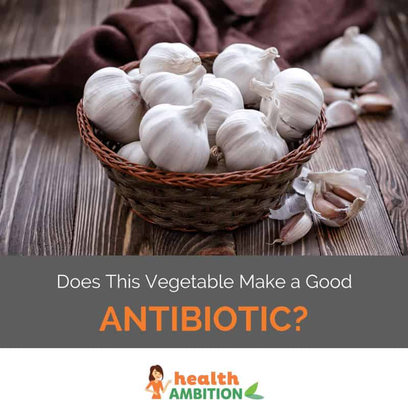 "A bowl of garlic with the title ""Does this vegetable make a good antibiotic?"""