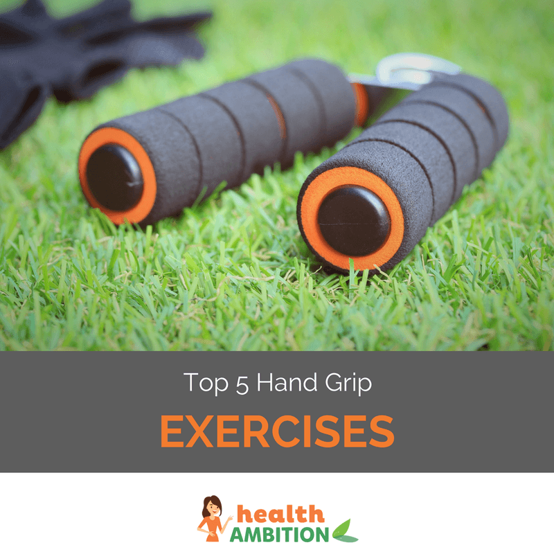 "A hand-gripper in the grass with the title ""Top 5 hand Grip Exercises"""