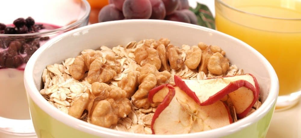 A bowl of healthy muesli with nuts and dried fruit