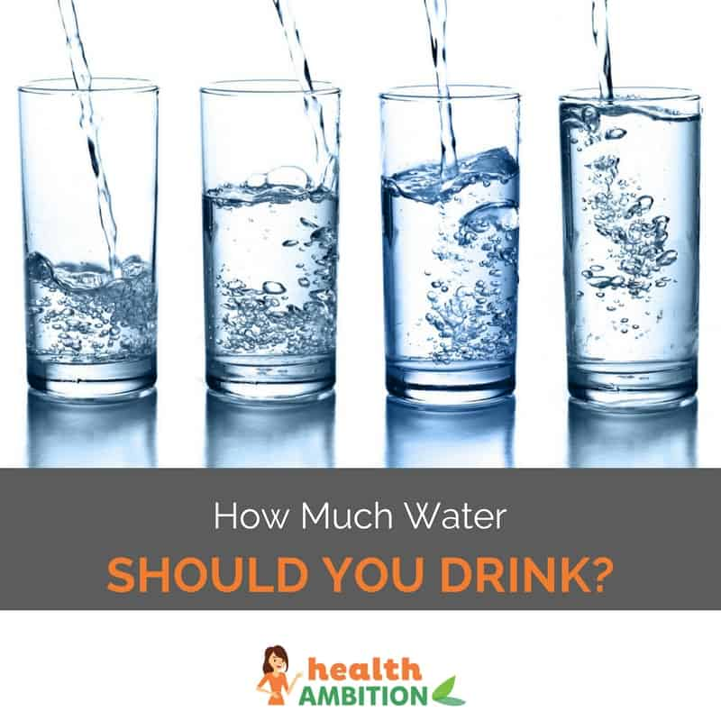 "Glasses of water with the title ""How Much Water Should You Drink?"""