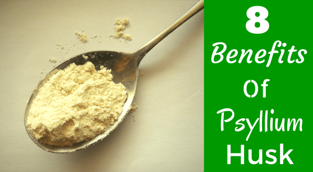 "A spoonful of psyllium husk with the title ""8 Benefits of Psyllium Husk"""