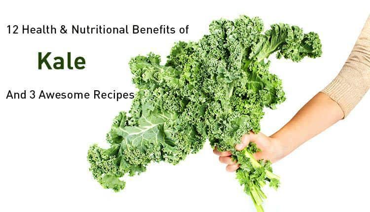 "A handful of kale with the title ""12 Health & Nutritional Benefits of Kale And 3 Awesome Recipes"""