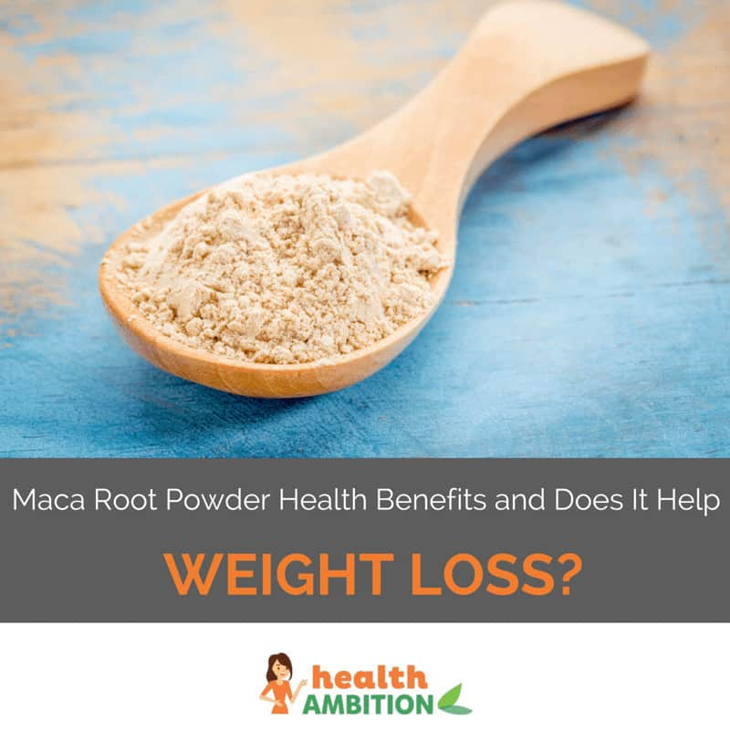 "A spoonful of maca root powder with the title ""Maca Root Powder Benefits and Does it Help Weight Loss?"""