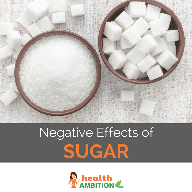 "A bowl of sugar cubes and a bowl of powdered sugar, with the title ""Negative Effects of Sugar."""