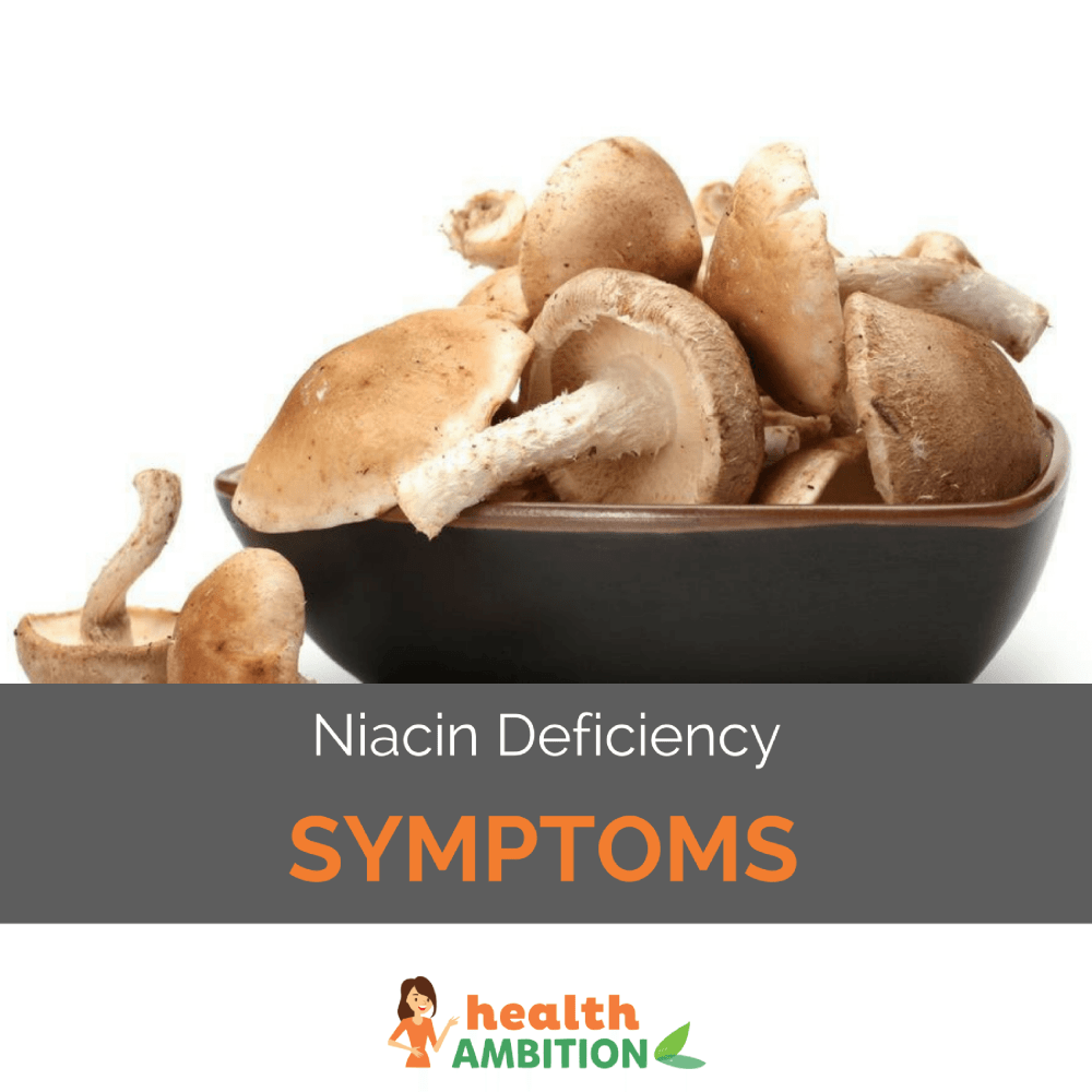 "A bowl of mushrooms with the title ""Niacin Deficiency Symptoms."""