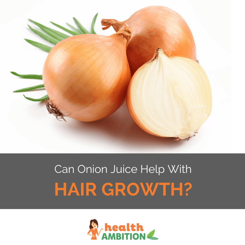 "Onions with the title ""Can Onion Juice Help with Hair Growth?"""