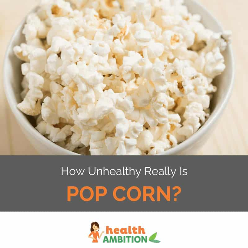 "A bowl of popcorn with the title ""How unhealthy Really is Popcorn?"""