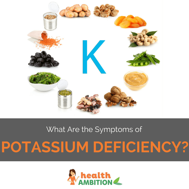 "The letter K surrounded by potassium-rich foods with the title ""What Are the Symptoms of Potassium Deficiency?"""