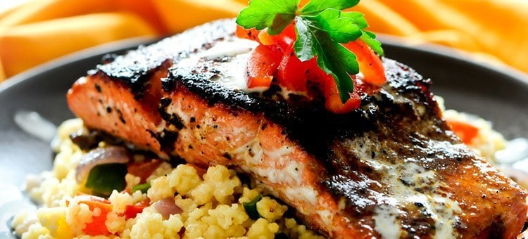Cooked salmon with couscous.