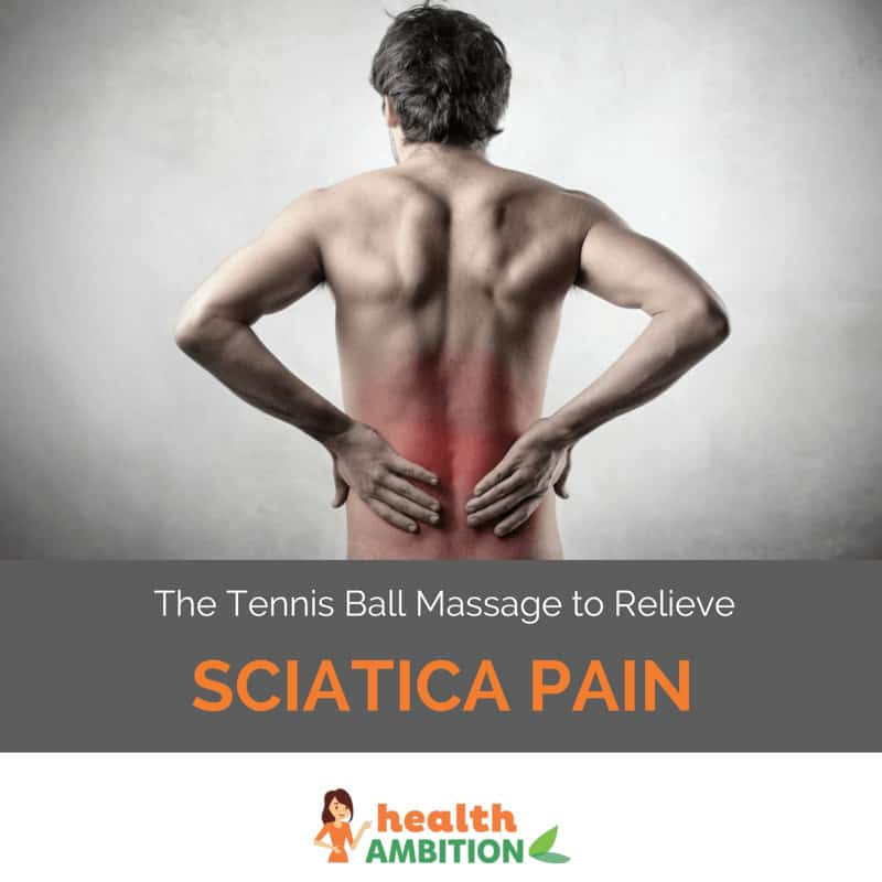 "A person with back pain and the title ""The Tennis Ball Massage to Relieve Sciatica Pain"""