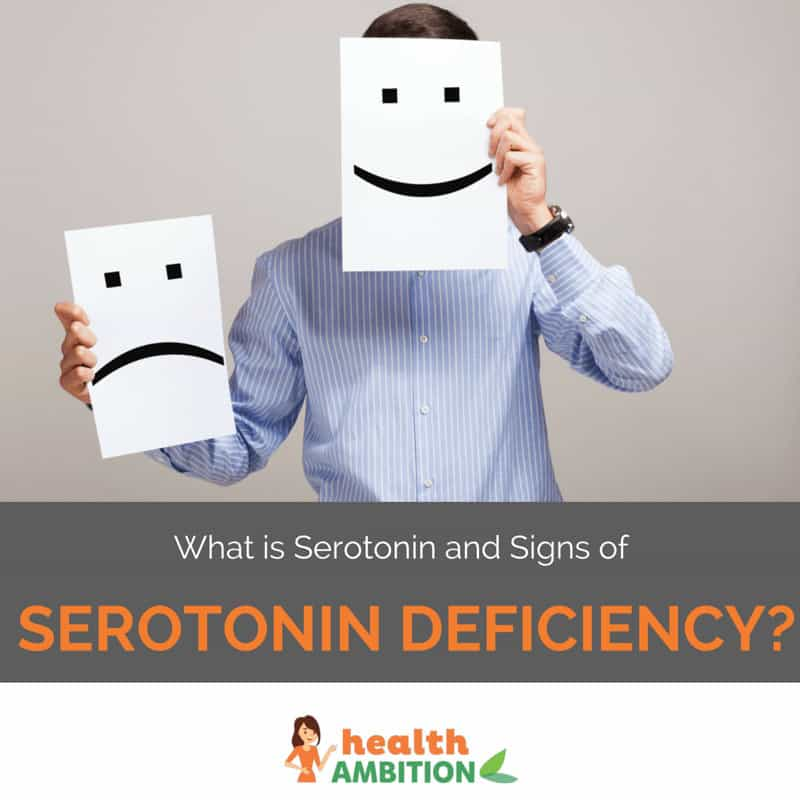 "A man holding a sad and happy smiley face with the title ""What is Serotonin and Signs of Serotonin Deficiency?"""