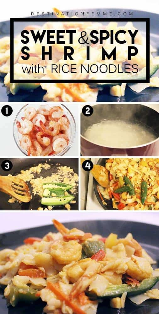 Images explaining how to make Sweet and Spicy Shrimp with Rice Noodles.