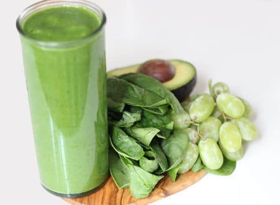 Sweet Spinach Smoothie with grapes and an avocado.