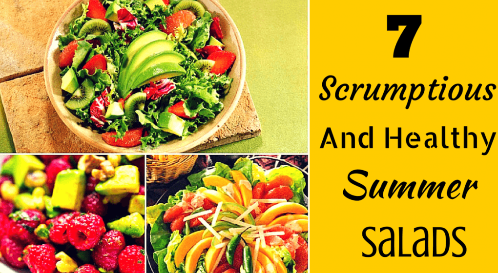 "Various fruit salads with the title ""7 Scrumptious and Healthy Summer Salads."""