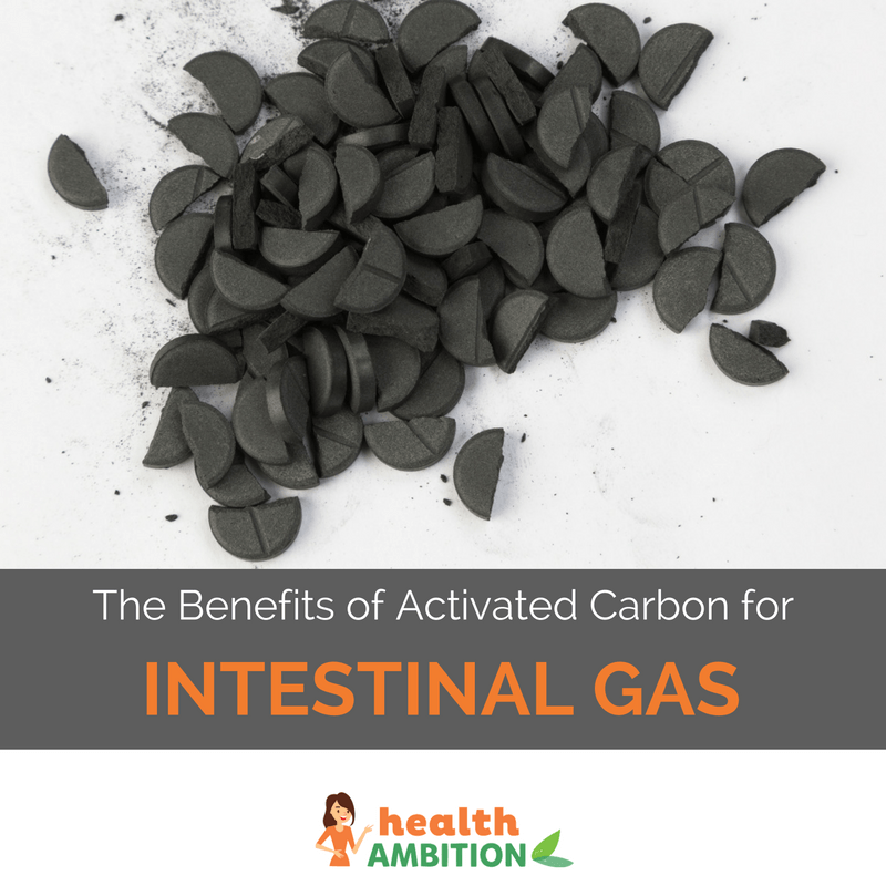 "A pile of broken-up charcoal tablets with the title ""The Benefits of Activated Carbon for Intestinal Gas."""