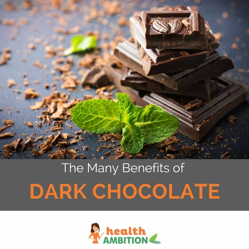 "Dark chocolate squares with the title ""The Many Benefits of Dark Chocolate."""
