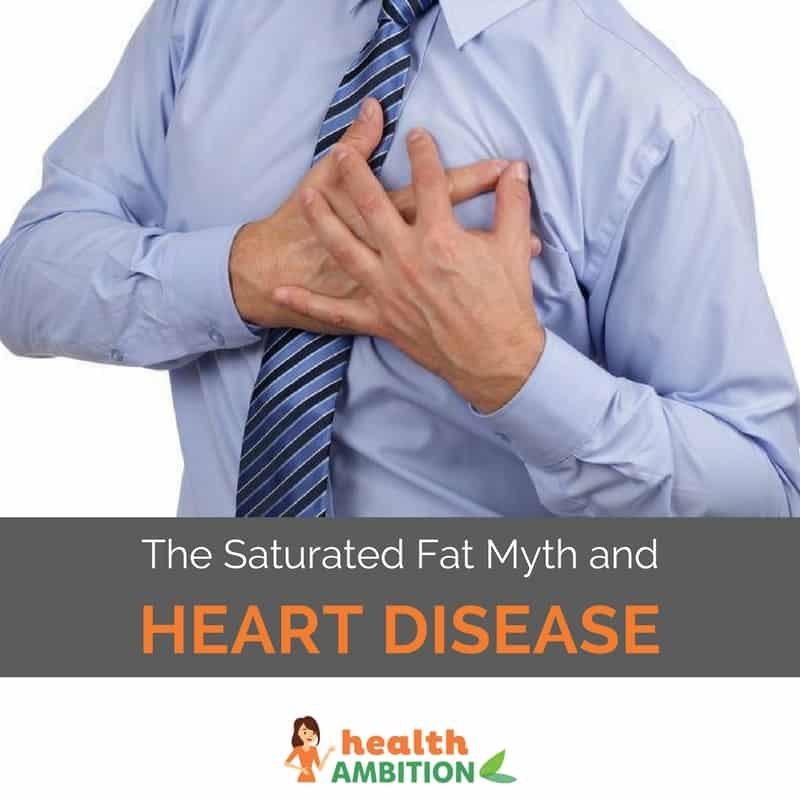 "A man in a shirt holding is hands to his heart with the title ""The Saturated Fat Myth and Heart Disease."""