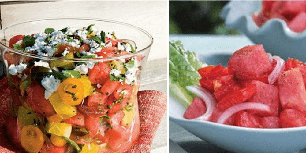 Tomato and watermelon salads.