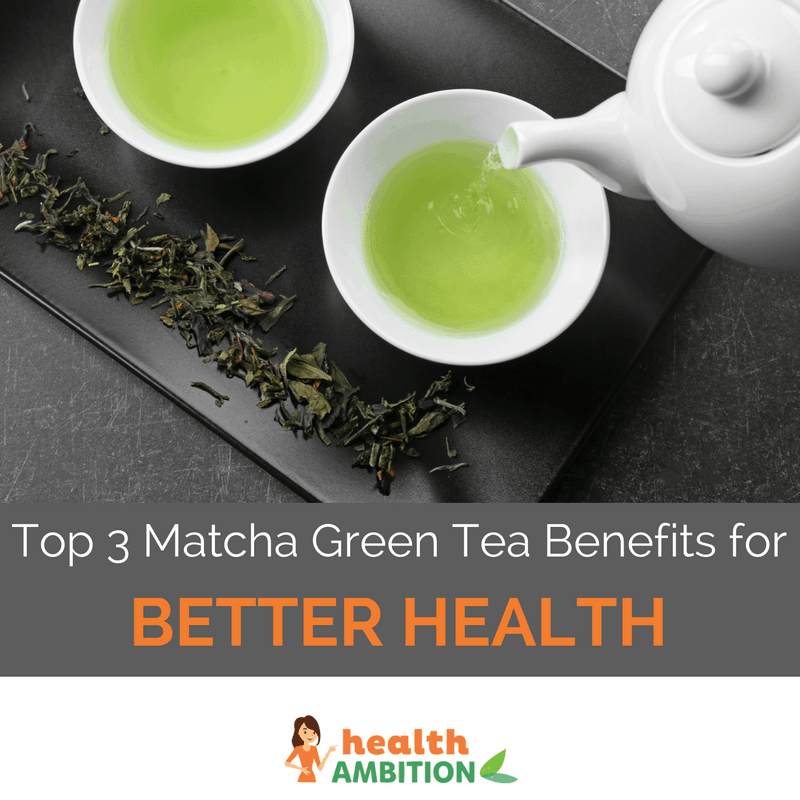 "Cups of green matcha tea tastefully presented with the title ""The Top 3 Matcha Green Tea Benefits for Better Health."""