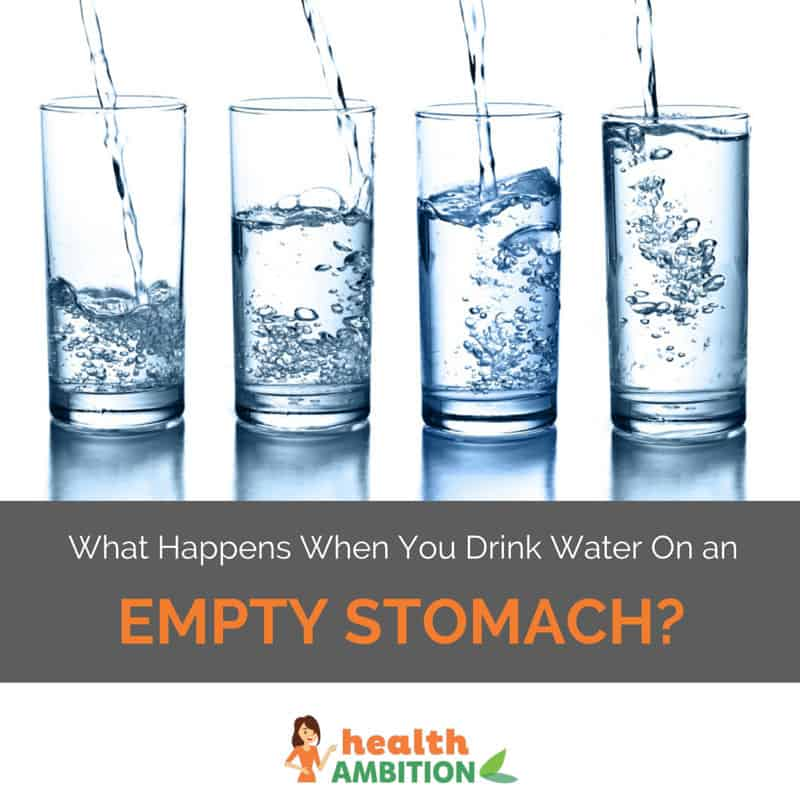 "Glasses of water with the title ""What Happens When You Drink Water On an Empty Stomach?"""