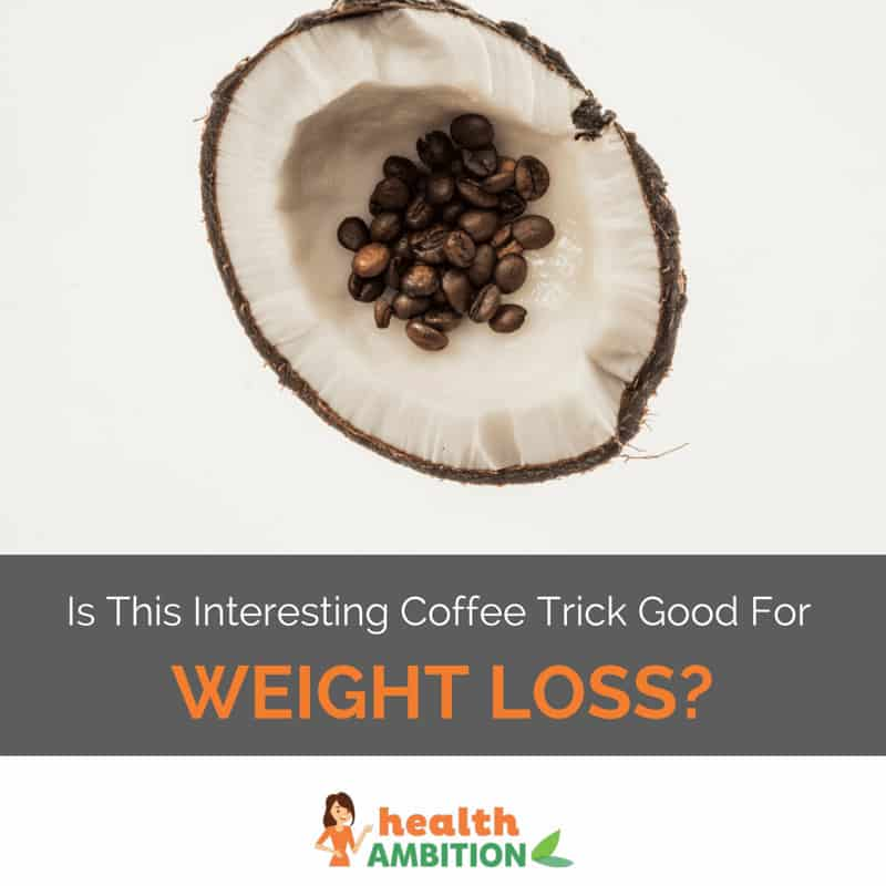 "Coconut shell with coffee beans with the title ""Is This Interesting Coffee Trick Good for Weight Loss?"""