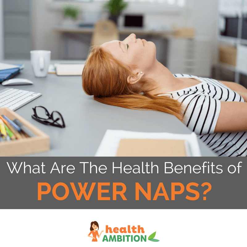 "A woman taking a nap at her desk with the title ""What Are The Health Benefits of Power Naps?"""
