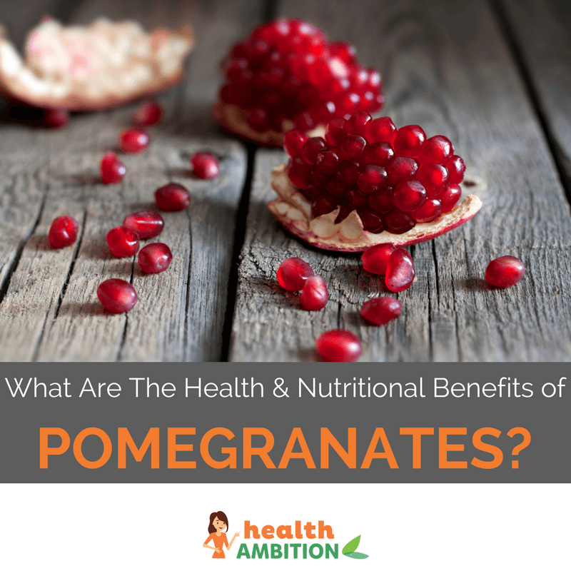 "A slice of pomegranate with the title ""What are the health & nutritional benefits of pomegranate?"""