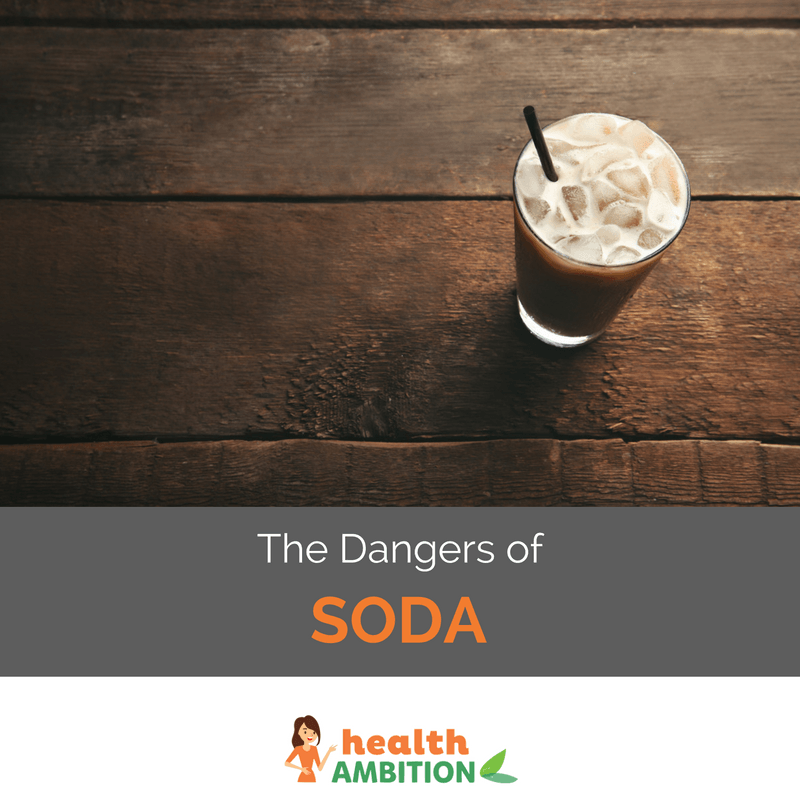 "A glass of soda with ice and the title ""The Dangers of Soda."""