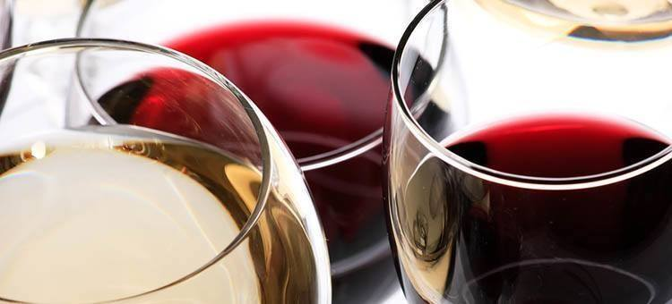 Glasses of red and white wine.
