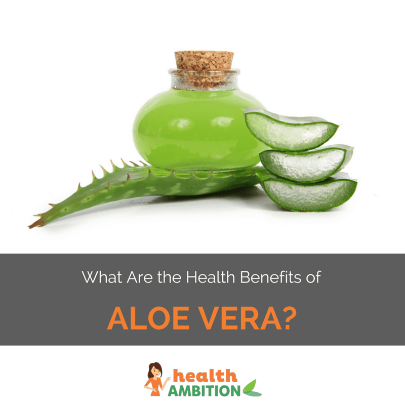 "Aloe vera gel with the plant and the title ""What Are the Health Benefits of Aloe Vera?"""
