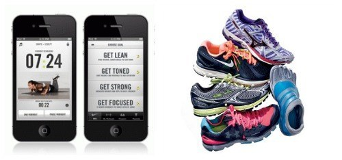 Running shoes and an iphone with an app.