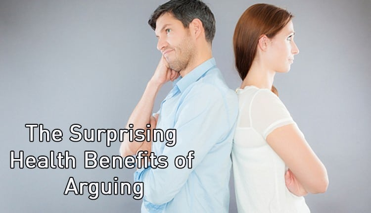 "A woman and man with their backs turned to each other with the title ""The Surprising Health Benefits Of Arguing."""