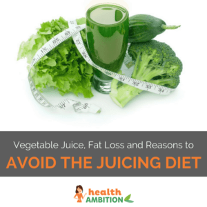 "A glass of green juice with vegetables like broccoli, cucumber, and salad with the title ""Vegetable Juice, Fat Loss and Reasons to Avoid the Juicing Diet."""