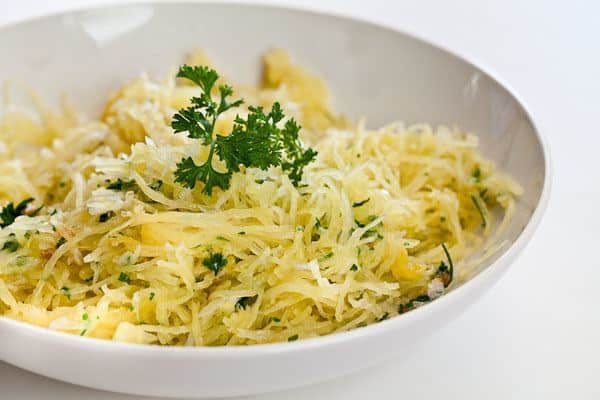 Baked spaghetti squash with garlic butter.