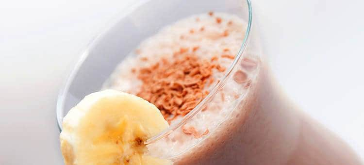 A banana-chocolate smoothie.