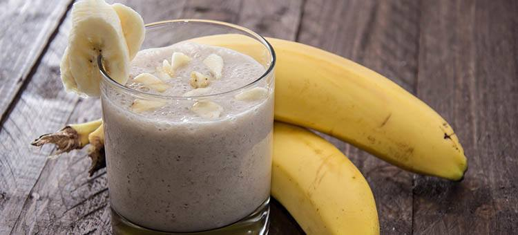 A glass of peanut butter-banana smoothie.