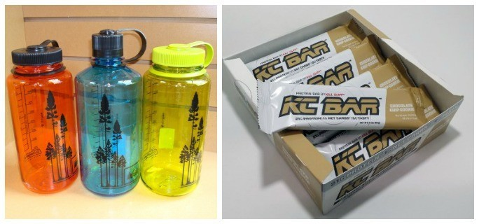 sports bottles and protein bars.