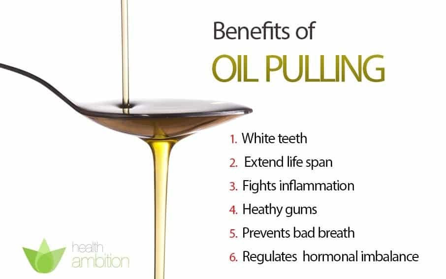 An image of a spoonful of oil titled Benefits of Oil Pulling.