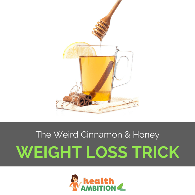 "A glass of tea and honey and cinnamon sticks with the title ""The Weird Cinnamon & Honey Weight Loss Trick."""