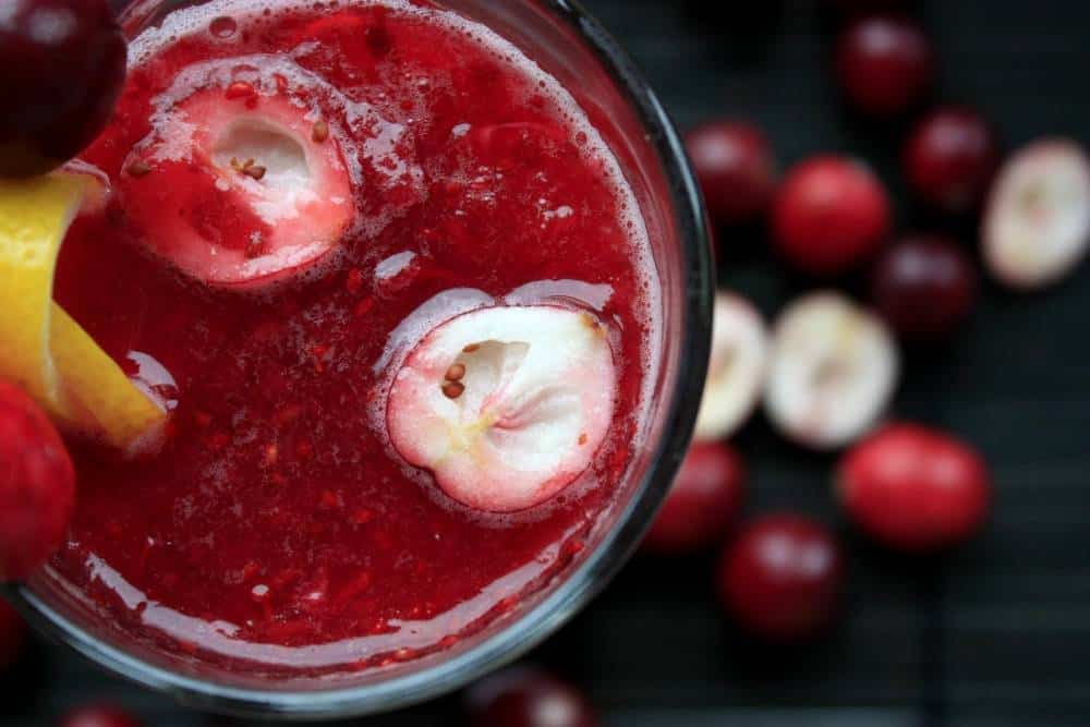 Cranberries in juice or shake form.