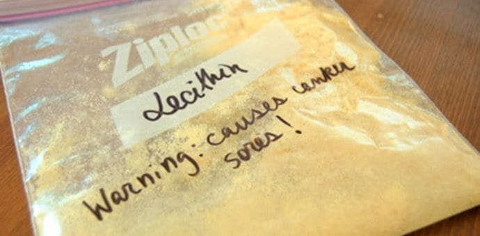 A bag of Lecithin with a handwritten warning.