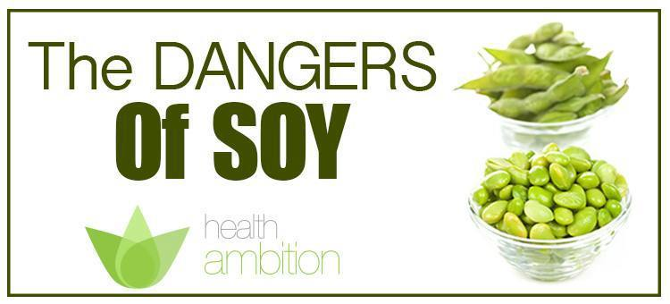 "Bowls of soybeans with the title ""The Dangers of Soy"""
