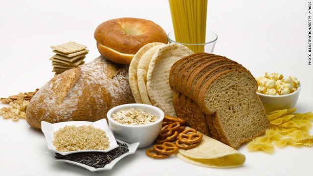 Various types of bread, pasta, and foods containing gluten.