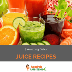 "Glasses of various juices surrounded by fruit and vegetables with the title ""7 Amazing Detox Juice Recipes."""