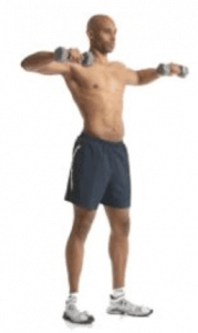 A shirtless man performing dumbbell rotations.